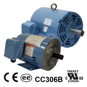 Worldwide Open Drip Proof (ODP) Rigid Base Three-Phase Motors 1 HP 3600 RPM 143T Frame