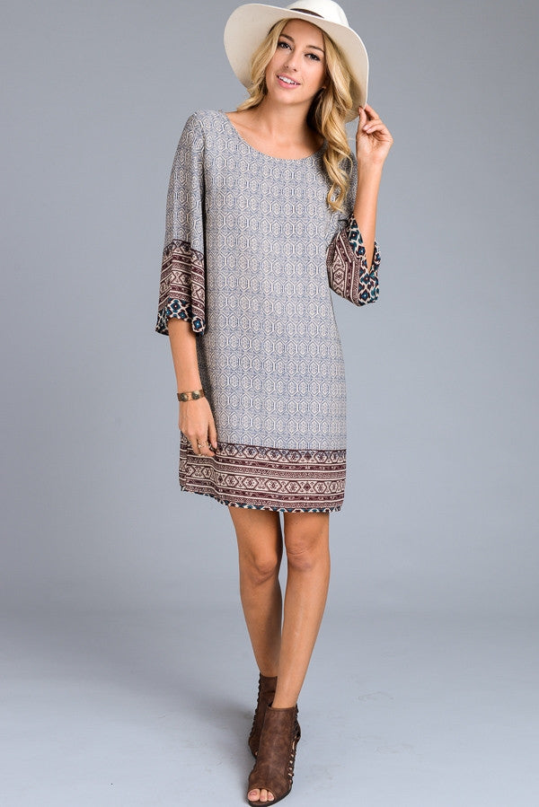 Border Print Sun Dress
