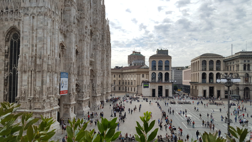 View of Piazza del Duomo from an adjacent caffe