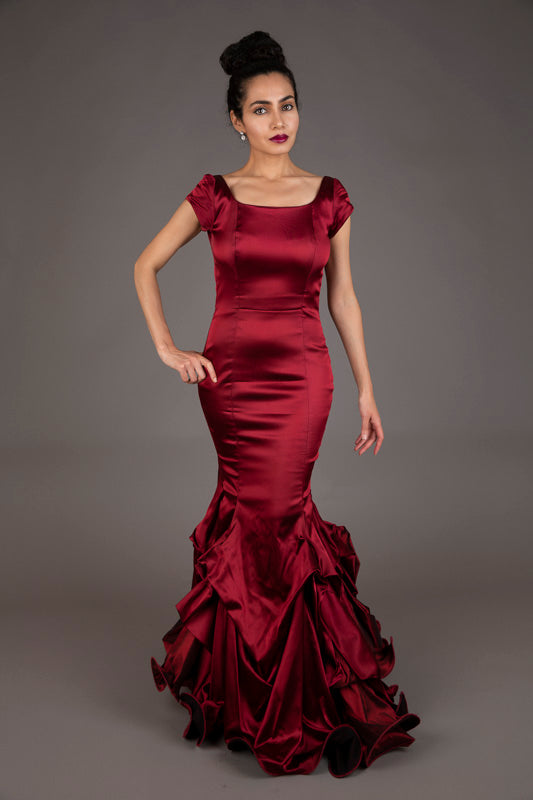 Red satin mermaid dress