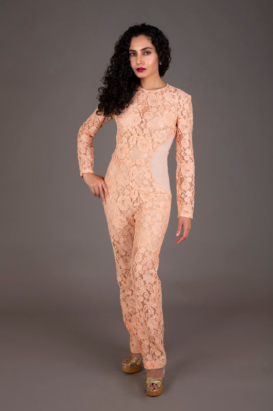 House of CB peach lace jumpsuit