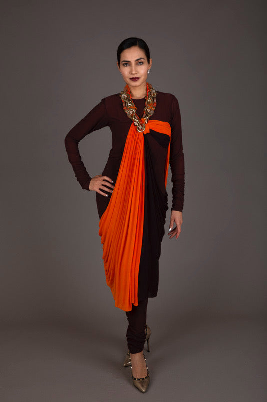 Brown and orange bejewelled punjabi