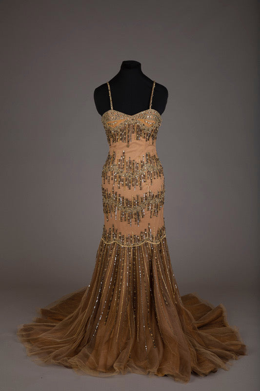 Sherry Couture bronze beaded dress