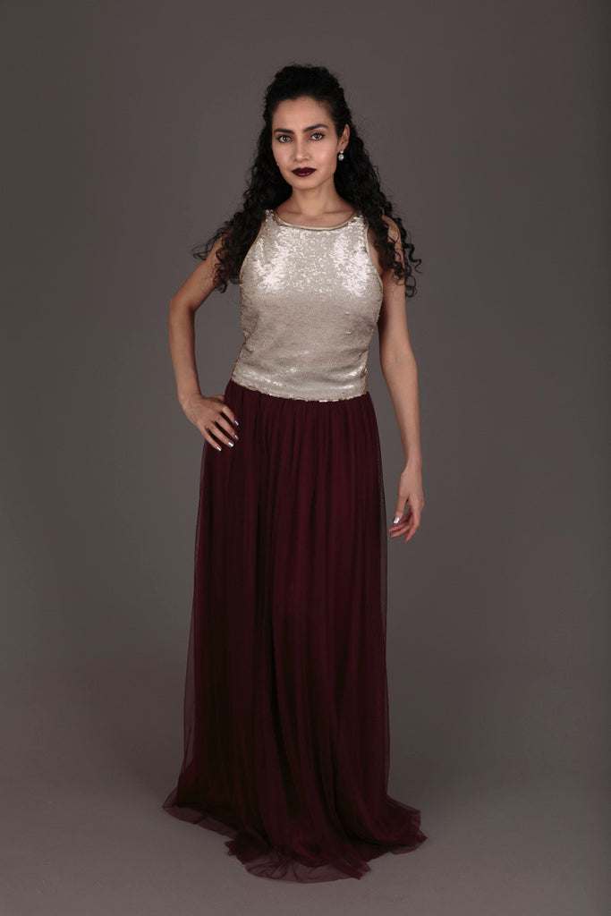 Halo by Zetske gold sequin top and burgundy tulle skirt