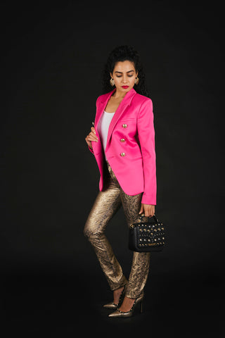 Pink blazer and gold trouser