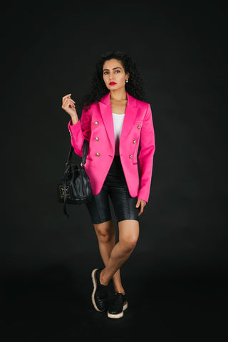 Pink blazer and cycle shorts