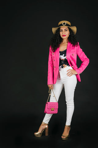 Pink blazer and white jeans