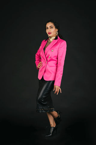 Pink blazer and leather pencil skirt