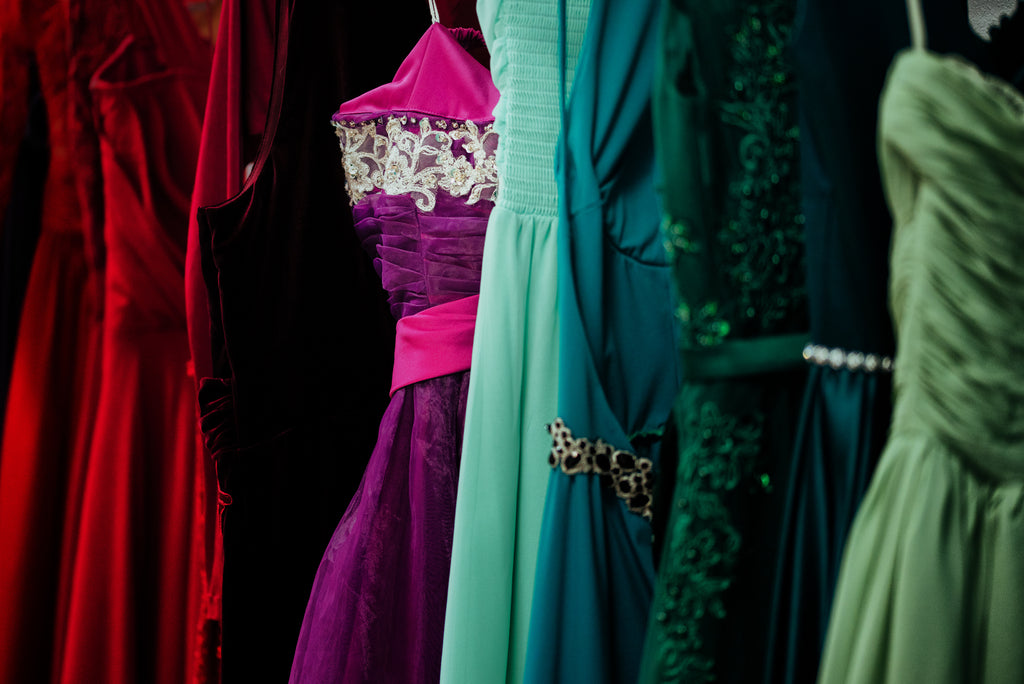 Rack of hanging dresses