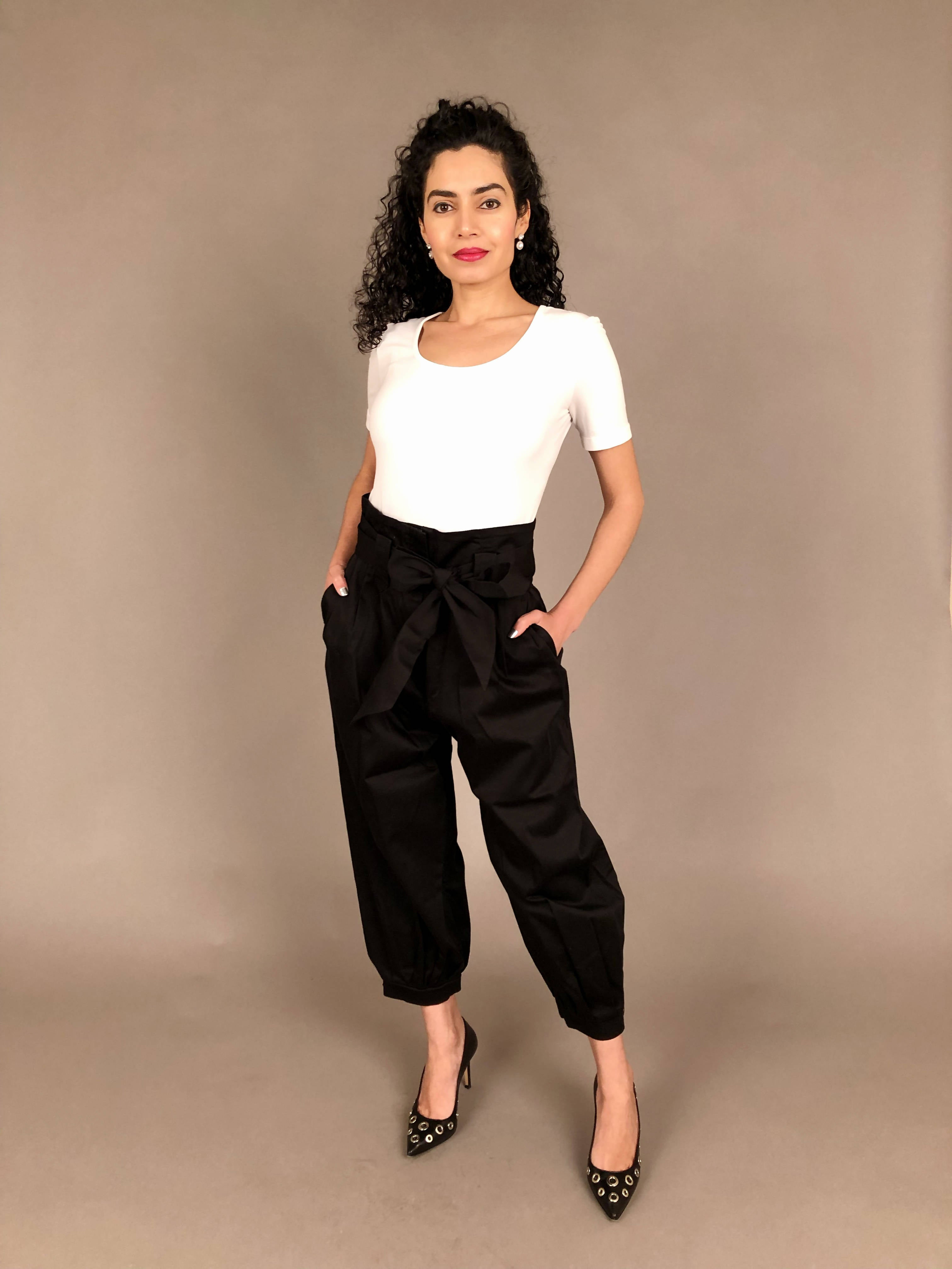 Marion and Lindie Black Paperbag Trousers