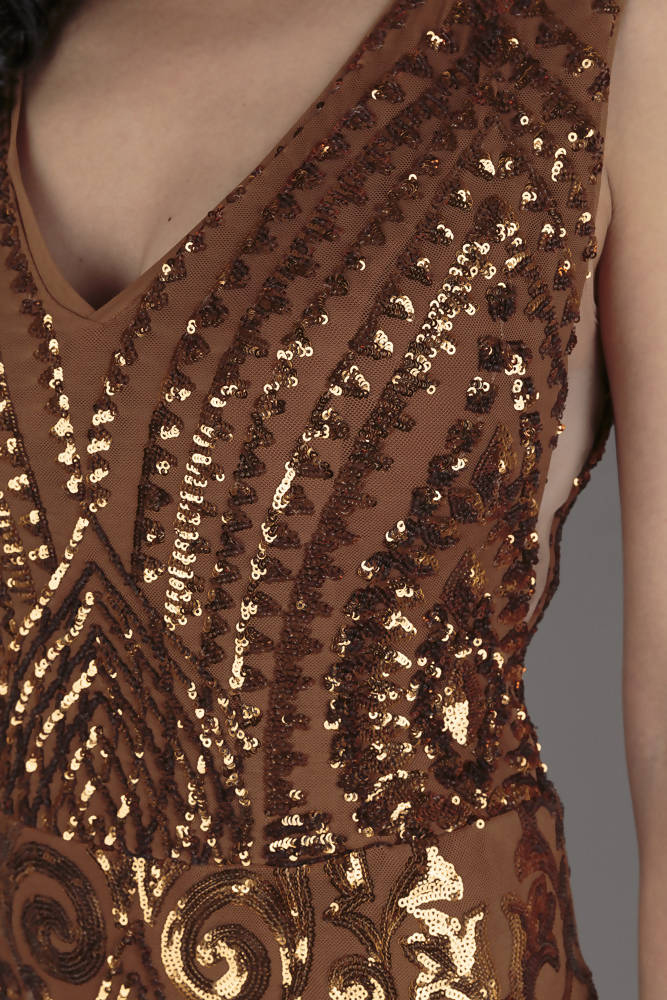 Ankyra Bronze Sequin Evening Dress