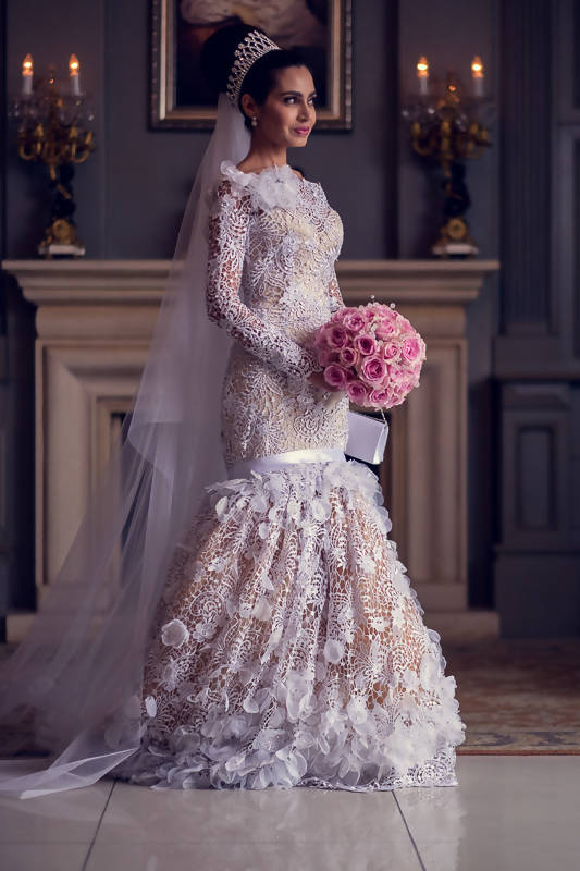 Designer White Lace Wedding Dress