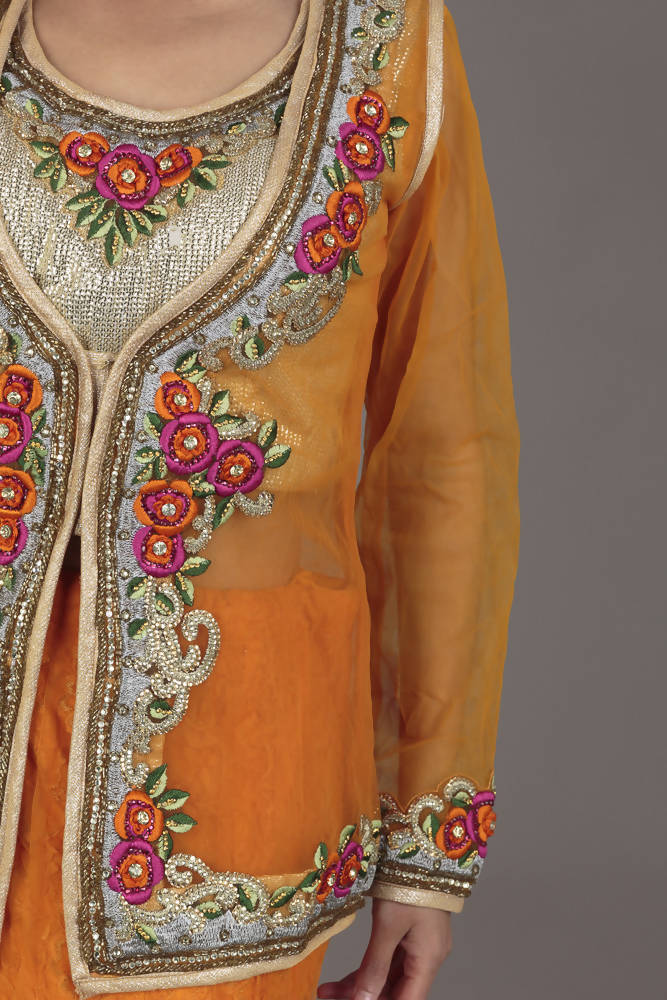 Orange and Multicolour Flower Lengha