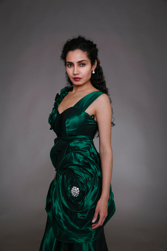 Green Silk Flower Evening Dress