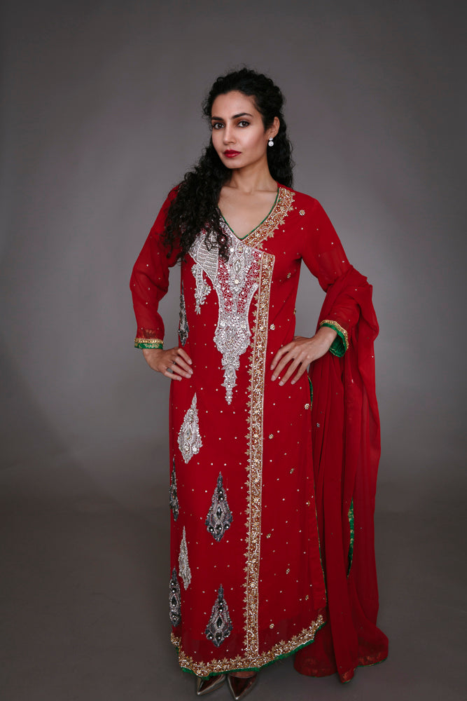 Red and Green Embellished Angrakha