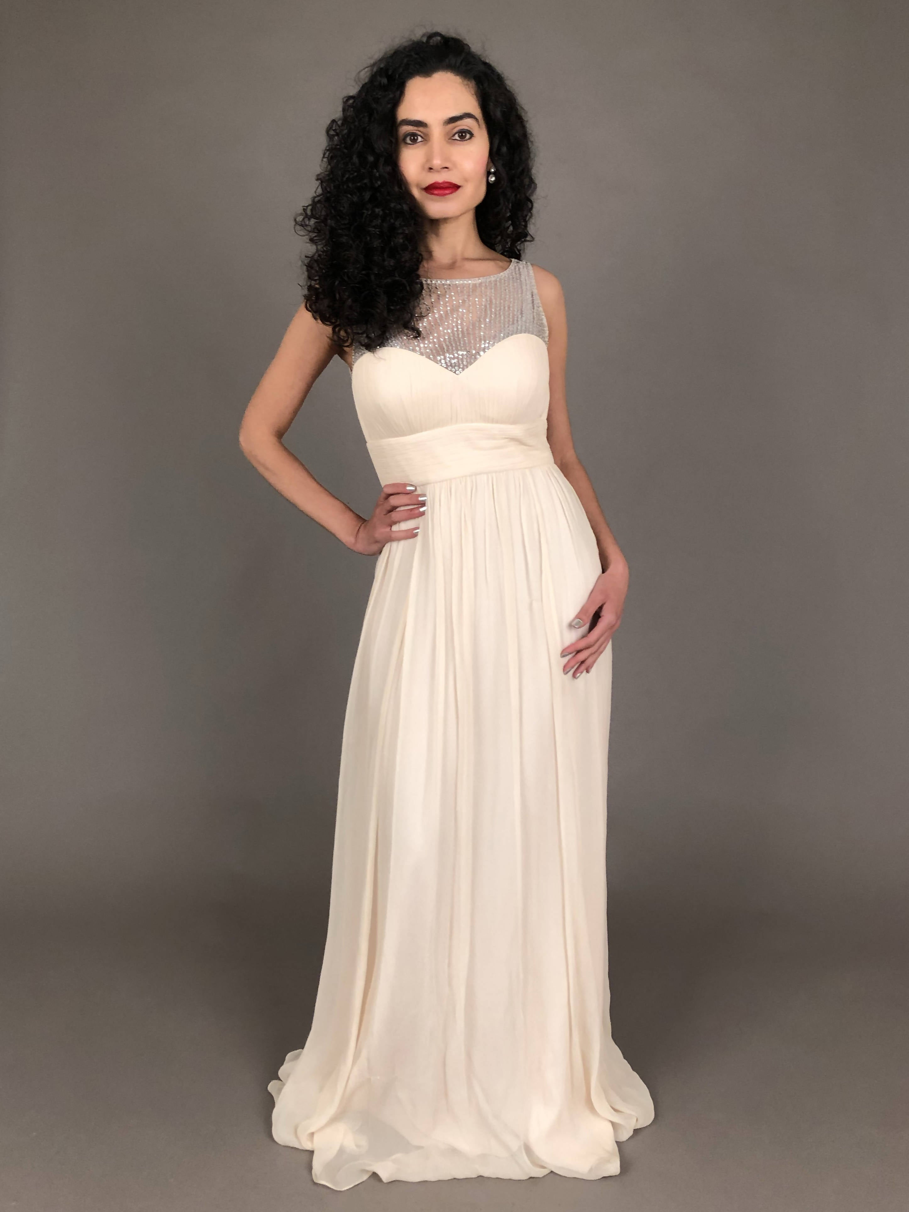 Oyster Silk Floor Length Dress
