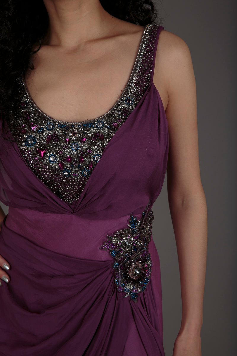 Purple encrusted silk evening dress (S)