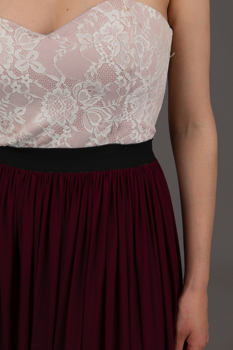 Burgundy and Nude Lace Dress