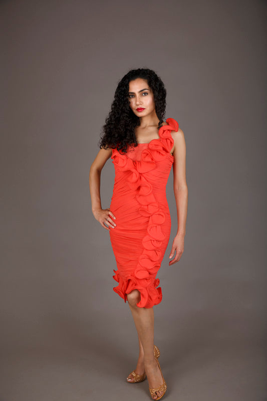Luisa Spagnoli Coral Silk Cocktail Dress