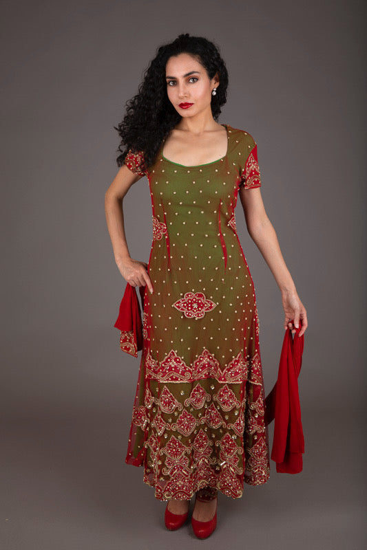 Red and Green Embellished Shalwar Kameez