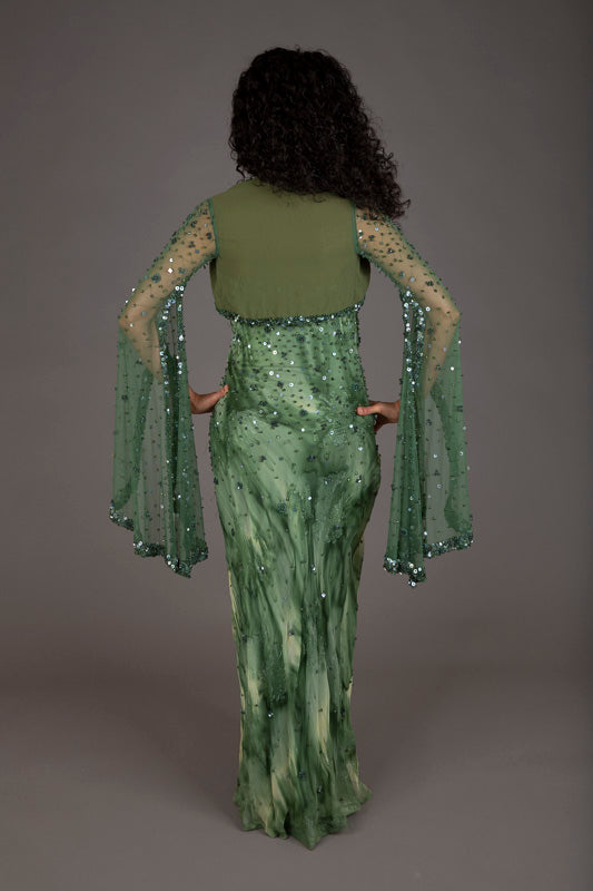 Ann Russo Green Silk Evening Dress