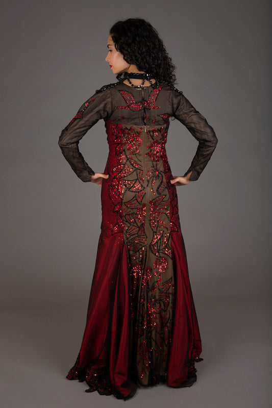 Red and Black Bejewelled Evening Dress