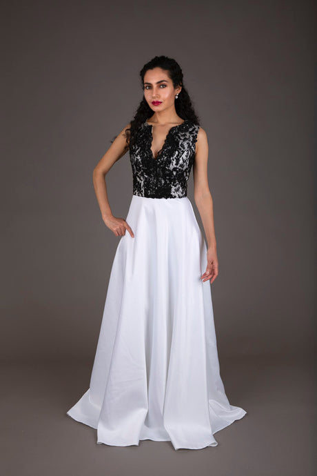 Black and white lace evening dress (XS)