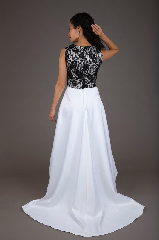Black and White Lace Evening Dress