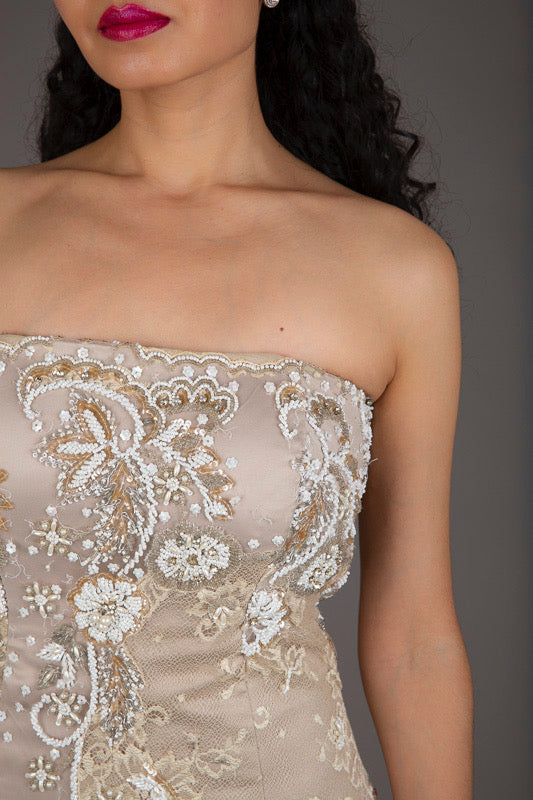 Beige Beaded Lace Formal Dress