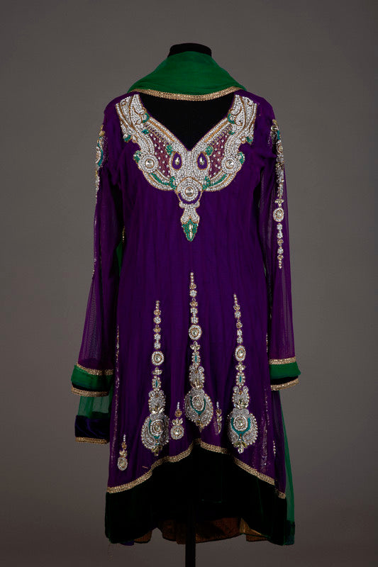 Purple and Green Embellished Punjabi