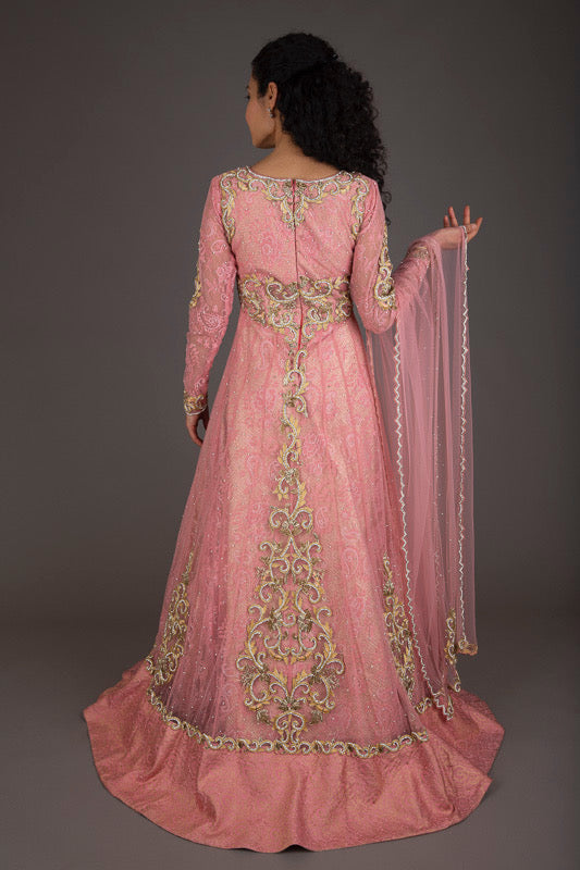 Rose-Pink and Gold Embellished Bridal Gharara