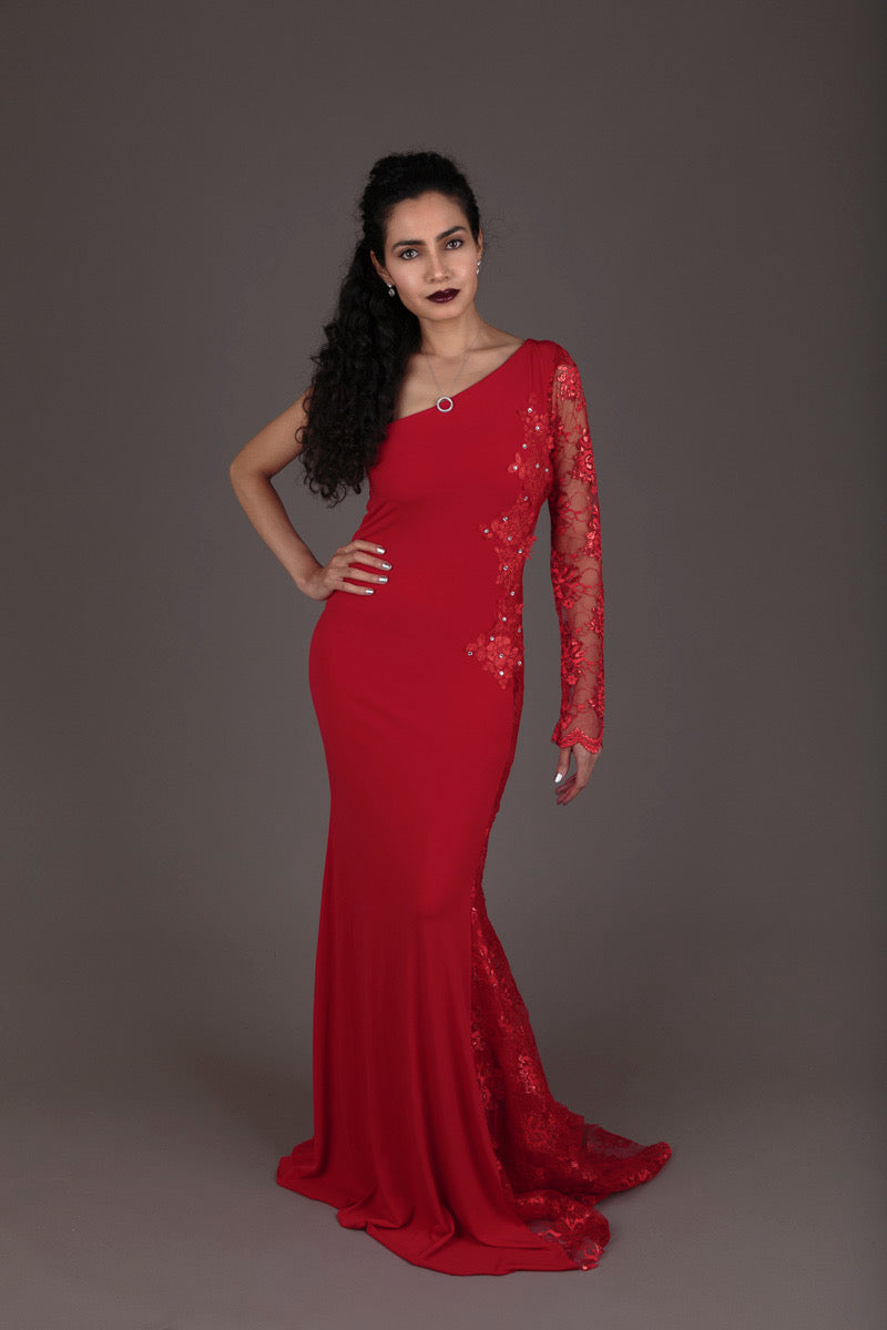 Halo Red Lace One-Shoulder Evening Dress