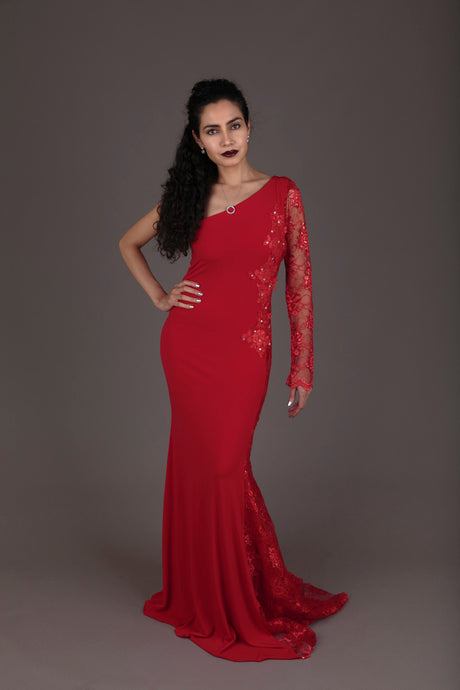 Halo red lace one-shoulder evening dress (S-M)