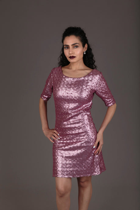 Halo pink sequin cocktail dress (S)