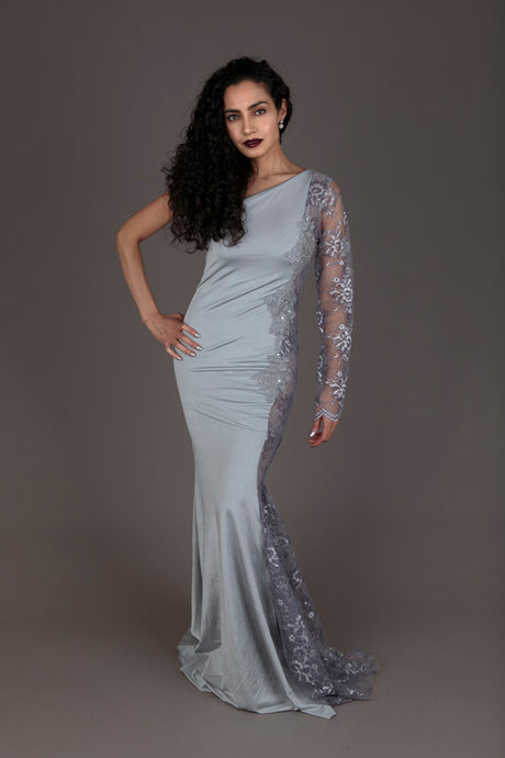 Halo grey lace one-shoulder evening dress (S,L)
