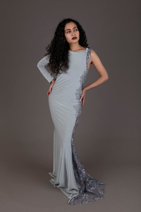 Halo grey lace one-sleeve evening dress (S)