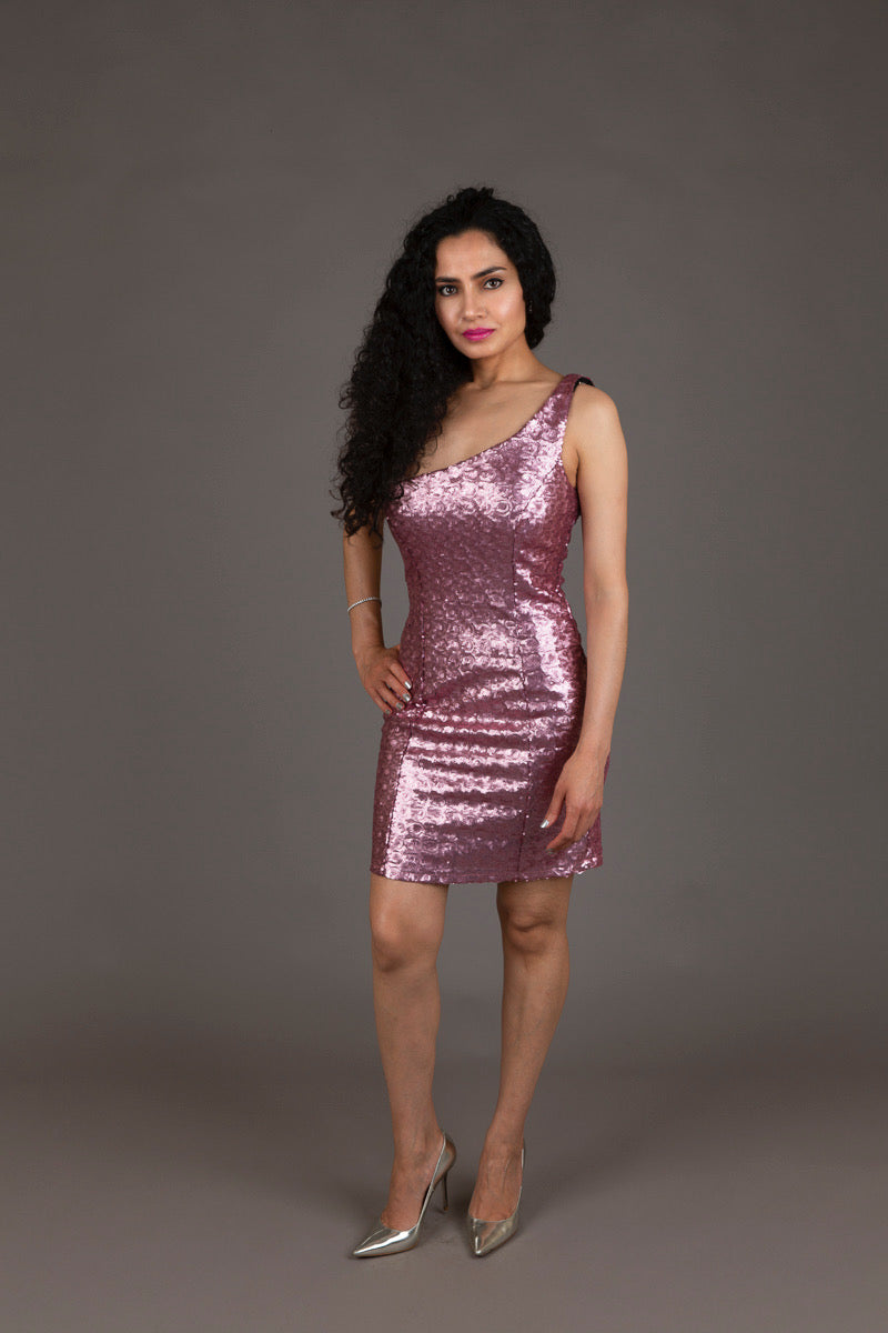 Halo Pink Sequin Cocktail Dress