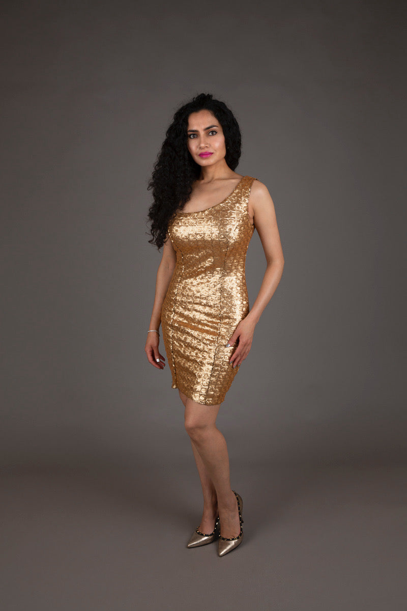 Halo Gold Sequin Cocktail Dress
