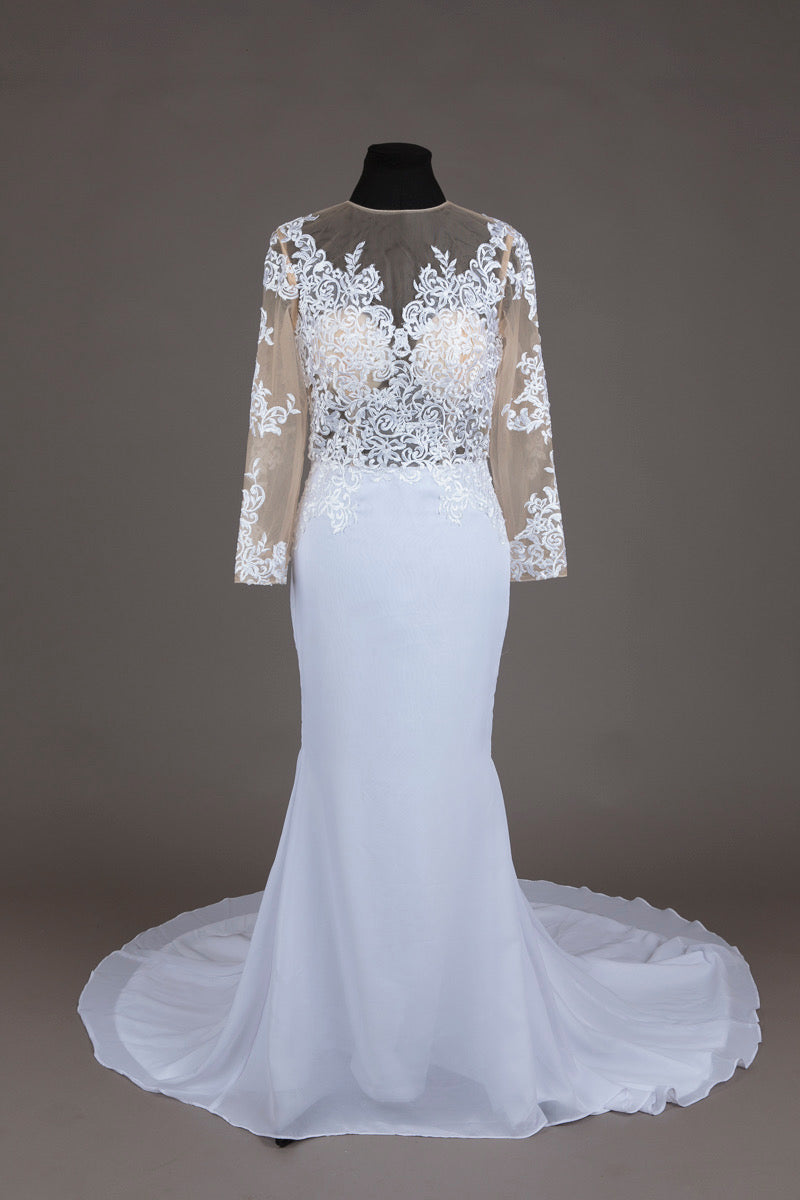 Mermaid Nude Lace Wedding Dress