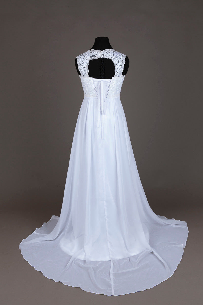 Babydoll White Lace Wedding Dress