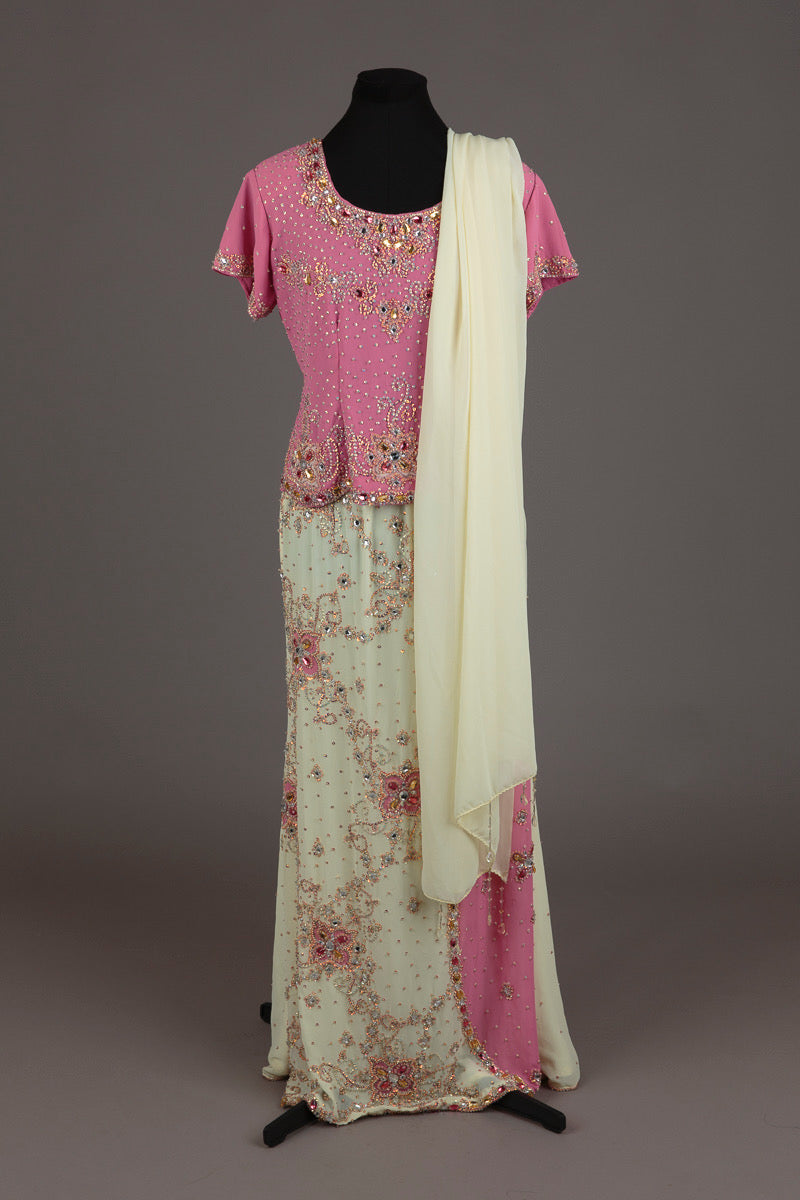 Pink and Cream Embellished Gharara