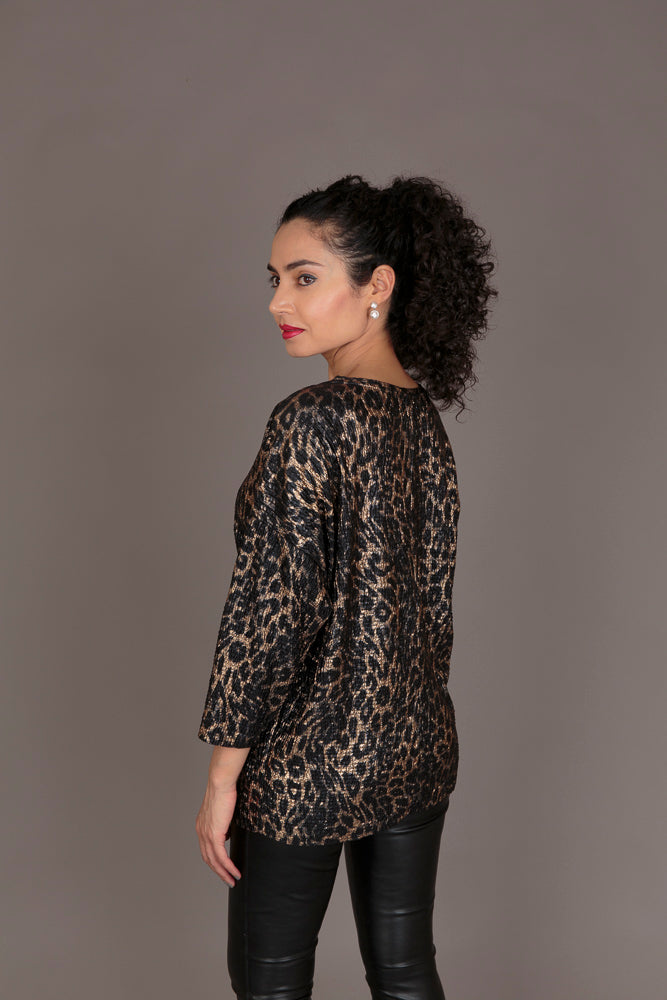 Zara Gold Leopard-Print Top