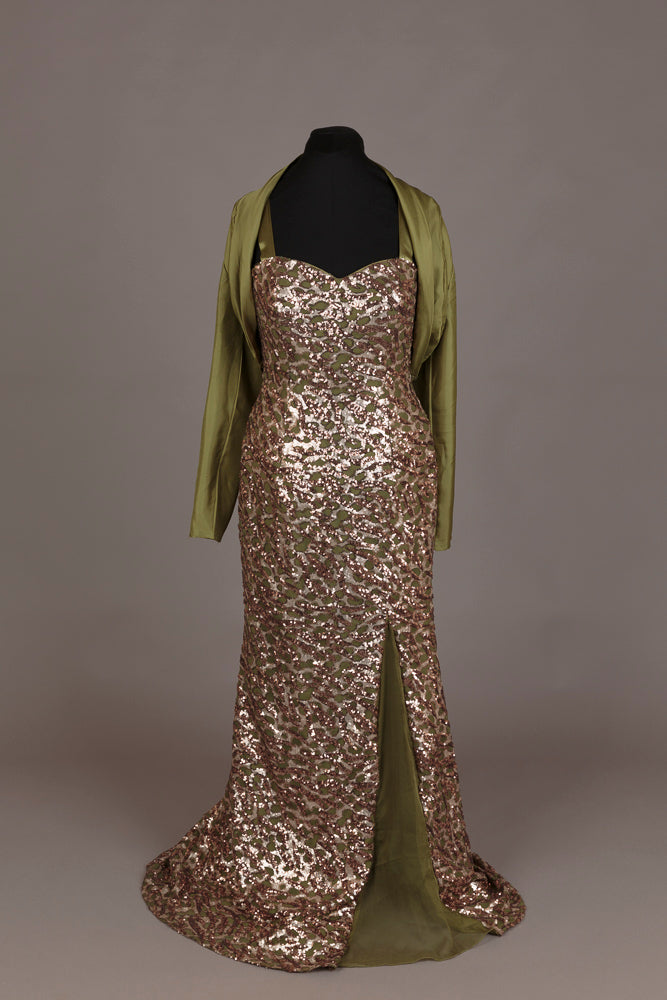 Alyce Green and Gold Sequin Evening Dress