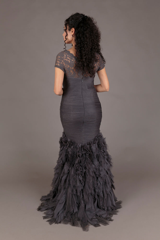 Allilaki Charcoal Tulle Evening Dress