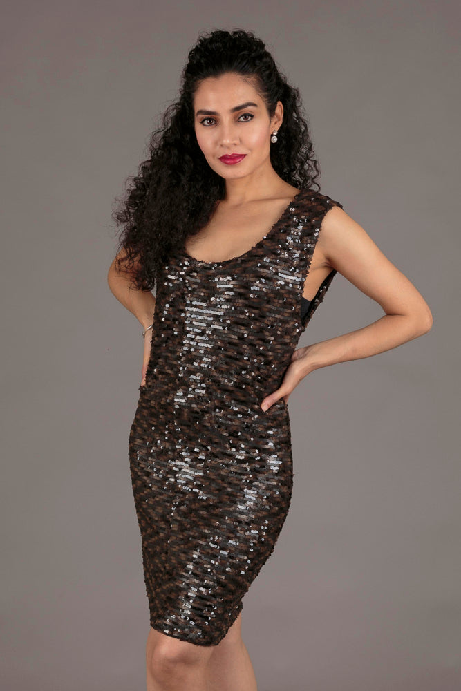 Black and Brown Sequin Cocktail Dress