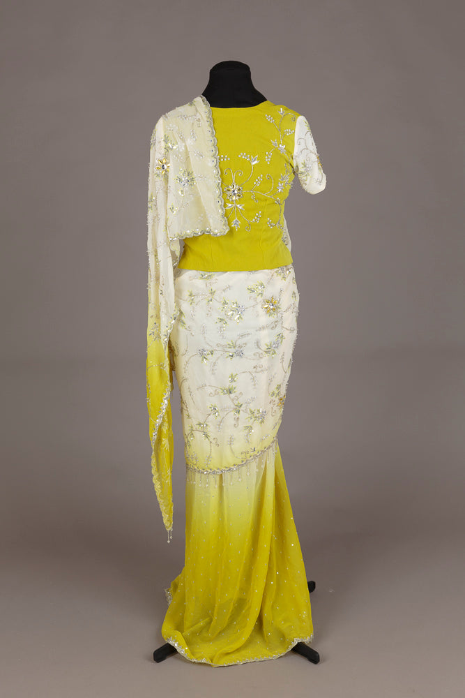 Lime Green and Cream Sari