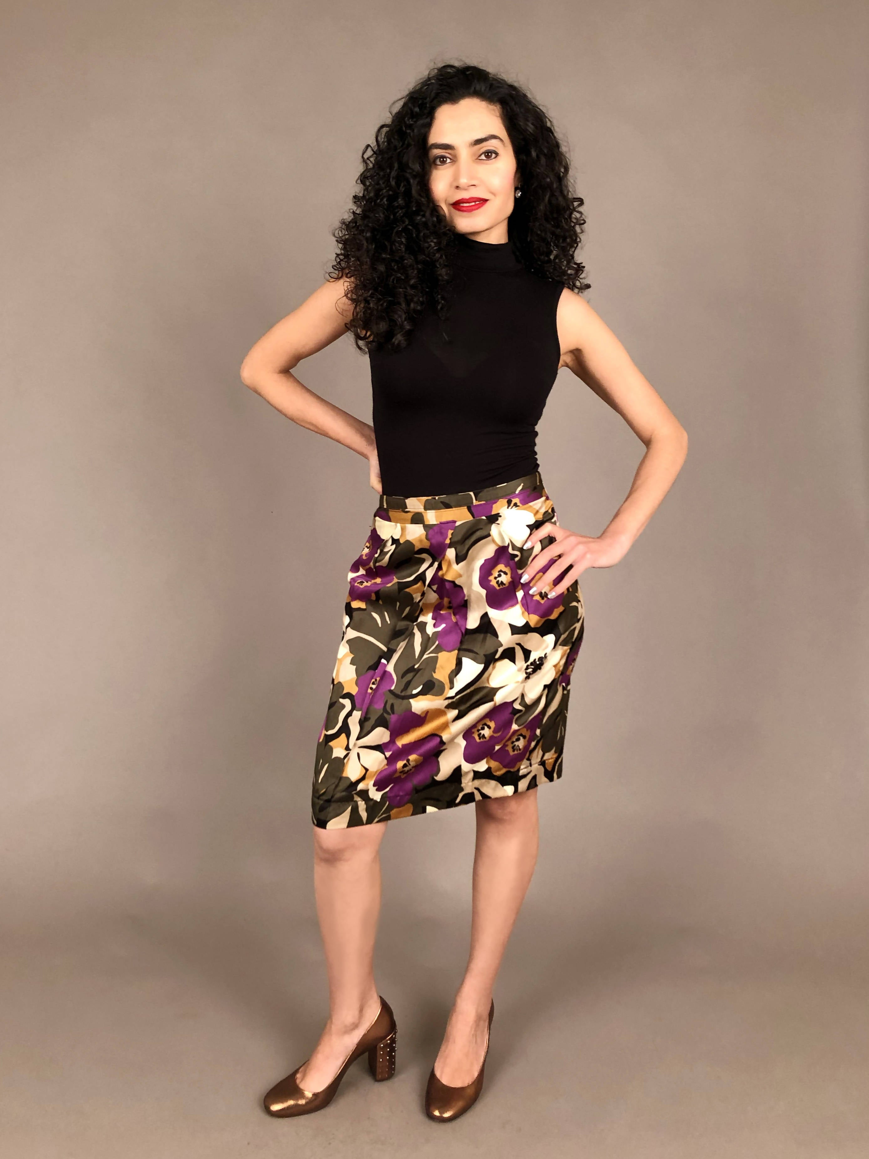 Twist Floral Pencil Skirt