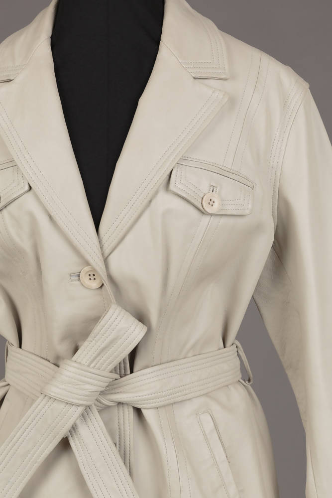 Cream Genuine Leather Trench Coat