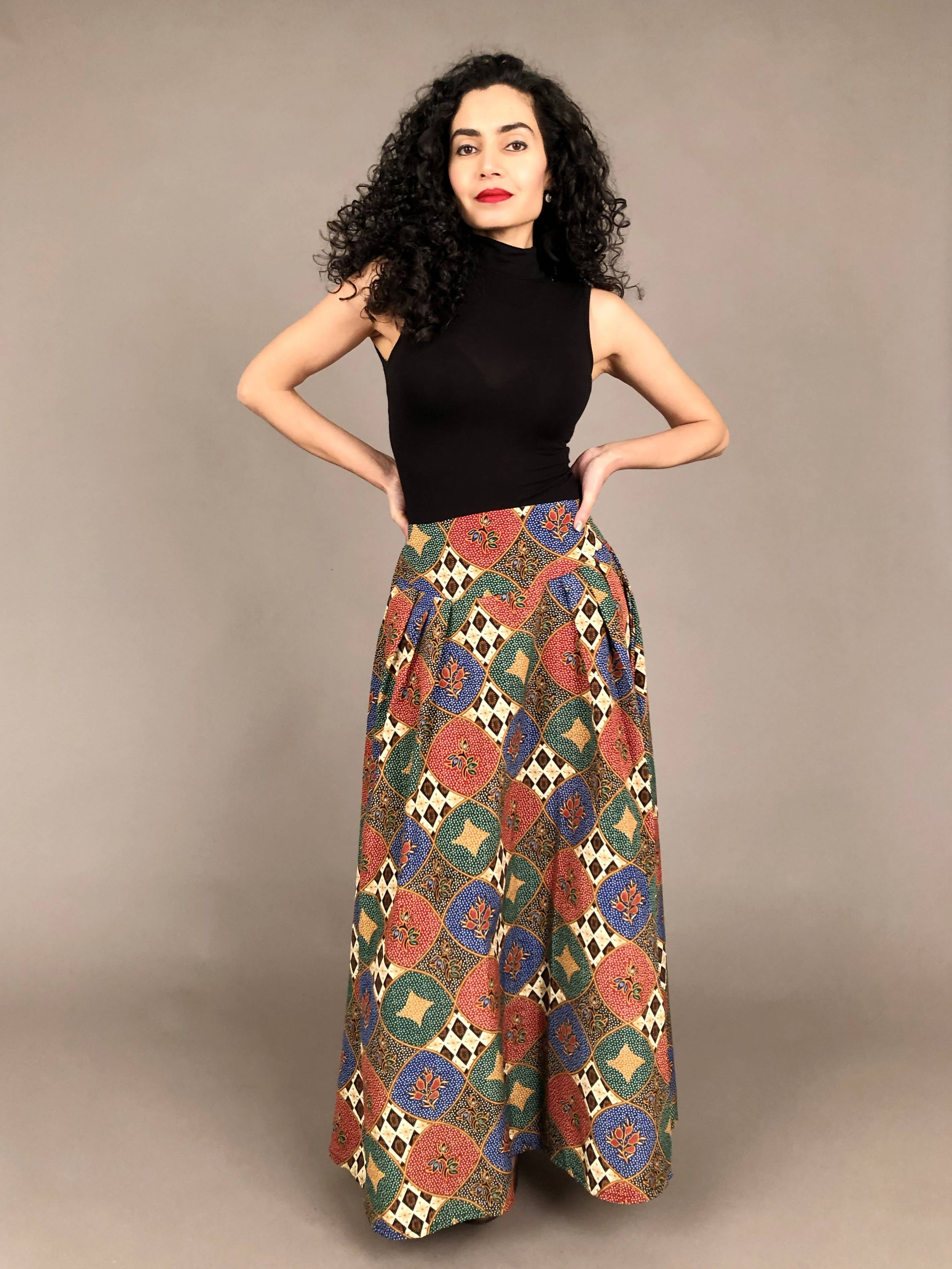 Ethnic Print High Waisted Maxi Skirt