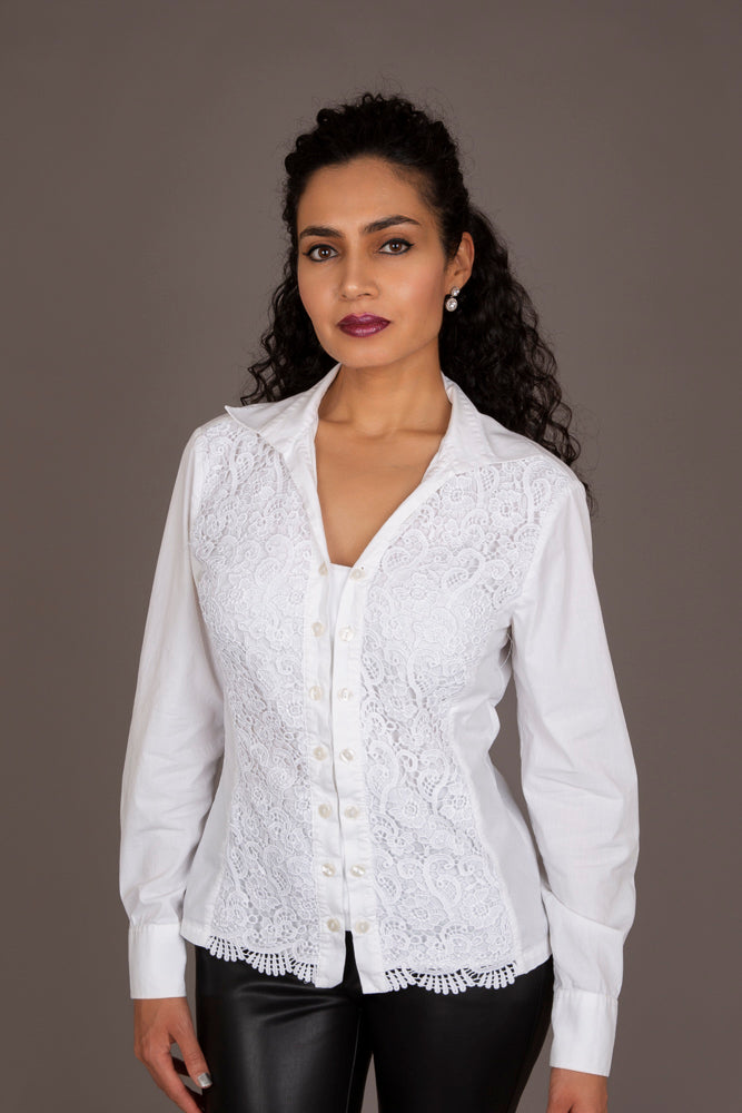 Naracamicie White Lace Shirt